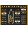 Menu beer restaurant alcohol template placemat vector image