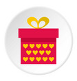 pink gift box with yellow hearts icon circle vector image