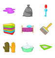 room cleaning service icon set cartoon style vector image