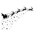 santa claus on sleigh flying sky with deers black vector image