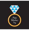 Wedding ring with diamond Happy Valentines Day vector image