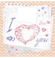 Valentines Day card Hearts Sketchy Doodles vector image