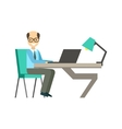 Bold Man In Glassins At His Working Desk vector image