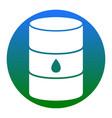 oil barrel sign  white icon in bluish vector image