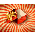 Holiday background with red gift ribbon with open vector image