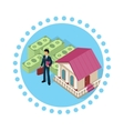 Isometric Icon Businessman Bank Cash vector image