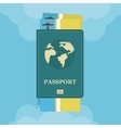 Passport with airplane tickets with clouds flat vector image