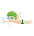 boy swimming freestyle in water vector image