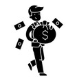 businessman with money bag icon vector image