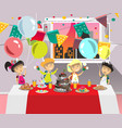 child s birthday party with dessert vector image