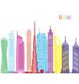 Dubai v2 skyline pop vector image