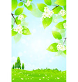 Green Landscape with Flowers vector image