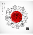 japan doodle sketch elements and big red sun on vector image