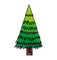 scribble christmas tree cartoon vector image