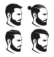 set of bearded men hipsters isolated on white vector image