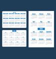 set simple pocket calendar years week starts from vector image