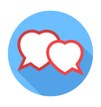 Two hearts speech bubble Flat Design icon vector image vector image