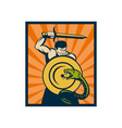 Warrior with sword and shield striking a snake or vector image