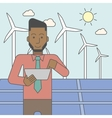Man with solar panels and wind turbines vector image