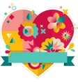 Heart with fun colorful geometric elements vector image vector image