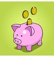 Piggy bank hand drawn pop art style vector image