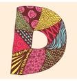 Vintage monogram D Doodle colorful alphabet vector image