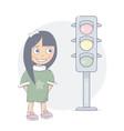 girl standing on a traffic light vector image