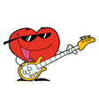 Heart Man Playing Guitar vector image