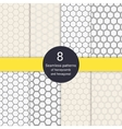 Set of 8 hexagonal honeycomb line style seamless vector image