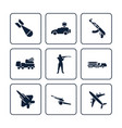 terror or army icons set - military icons design vector image