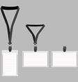 Three white lanyard with grey holder vector image