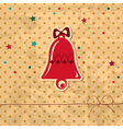 retro Christmas card with a bell vector image vector image