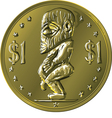 Money gold coin Cook Islands Dollar vector image