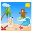 Happy bear cartoon surfing vector image vector image