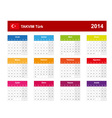 Calendar 2014 Turkey Type 10 vector image