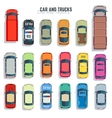 Cars and trucks top view flat icons set vector image