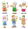 cartoons of kids chefs and set of cooking vector image