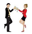 Couple clink glasses outline doodle vector image