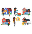 set of real estate agents and house owners vector image