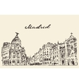 Streets Madrid Spain hand drawn vector image