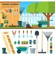 Summer Gardening Landscape in Cartoon Style vector image