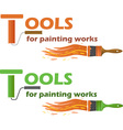 tools for painting works vector image vector image