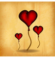 three hearts on the old paper vector image vector image