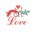 Graphic beautiful lovers salamanders on a white vector image