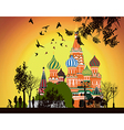 lot of people walking on the Red Square at sunset vector image vector image