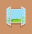 flat open window on brown wall vector image