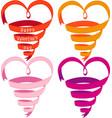 Heart shaped ribbons vector image