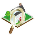 magnifying glass house search concept vector image