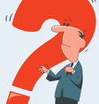 man with a red question vector image