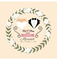 wedding invitation card suit bridal with flower vector image